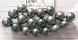 Lot 18 Tahiti Tahitian cultured black pearls size 11.5mm, R-SR, Grade A $240/pc