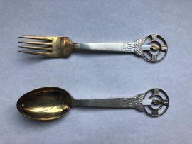 Anton Michelsen Sterling Silver spoon & fork 1936 Chirstmas