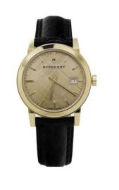 Burberry BU9142 Watch Gold Black Patent Leather 34MM BRAND NEW AUTHENTIC MSRP495