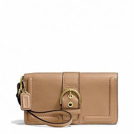 CAMPBELL LEATHER BUCKLE DEMI CLUTCH (COACH F50061)