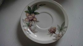 "Meito Fine CHINA of Japan WOODROSE 1 SAUCER 5 3/4"" Flowers & Gold Trim Excellent"
