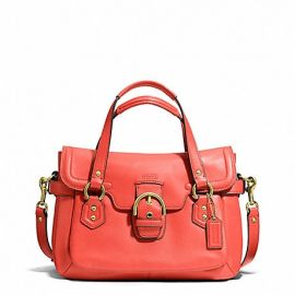 CAMPBELL LEATHER SMALL FLAP SATCHEL (COACH F27231)