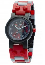 LEGO Star Wars 8020332 Darth Maul Kids Buildable Watch with Link Bracelet and Minifigure black/red plastic 25mm case diameter analog quartz boy girl
