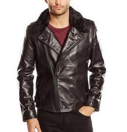Selected Homme Men's Lake Shearling Leather Long Sleeve Jacket 16046874 BLACK S 170/92A