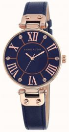 Anne Klein Womens Blue Leather Strap Blue Dial Quartz Watch 10/N9918RGNV