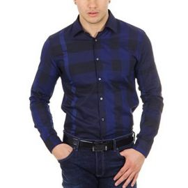 Burberry London mens check shirt long sleeve Southbrook 3958530 Navy L