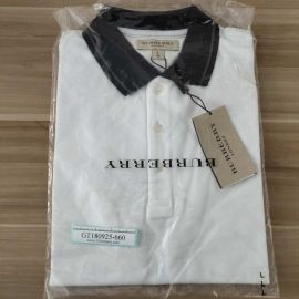 Burberry Mens Contrast Tipping Detail Polo 3959079 White/Mid Grey L