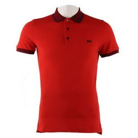 Burberry Mens Contrast Tipping Detail Polo Red 3959083 Union Red/Dark Blue L