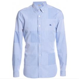 Burberry Mens Slim Fit Cotton Gingham Jacquard Shirt 3954268 Marine Blue L