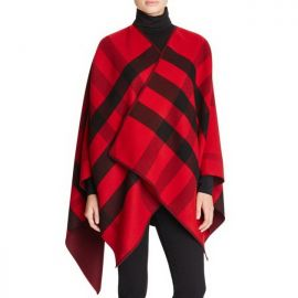 Burberry Charlotte Check-To-Solid Wool Cape Deep Claret CHK Reversible