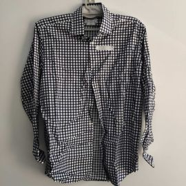 Tmlewin Men's Long Sleeve White Blue Plaid Shirt 42