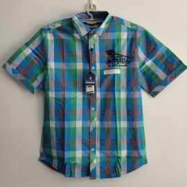 Arqueonautas 444322 Mens Short sleeve Green Blue Plaid shirt