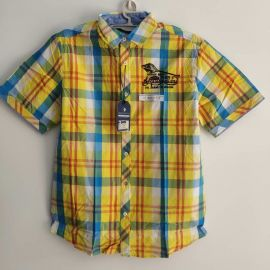 Arqueonautas 740760 Mens Short sleeve Yellow Blue Plaid shirt