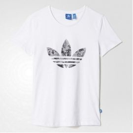 adidas AJ8908 Women's Mono Floral T-Shirt White/Black S