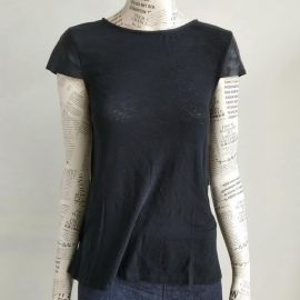 Alice and Olivia Leather-Cap-Sleeve Swing Tee T-shirt Size S 165-170cm