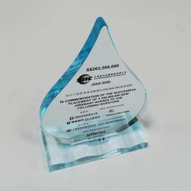 2013 SIIC Successful Isuue Shares Reward Trophy WaterDrop Shape Arcylic