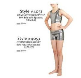 Danskin 4053 4051 Little Girls' Silver Gymnastics Basics Short and Crop Top S