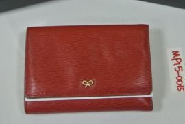 Anya Hindmarch compact purse Red Lodon Grain wallet with SOGO mark