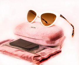 MIU MIU Cat Eye Women Sunglasses SMU 08O 7S3-1G0 White Ivory Gold