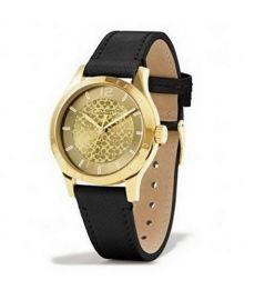 COACH W6004 MADDY SAFFIANO GOLD PLATED LEATHER STRAP WATCH Black Women Watch