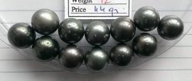Lot 12 Tahiti Tahitian cultured black pearls size 13.5mm, R-SR, Grade D $60/pc