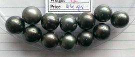 Lot 12 Tahiti Tahitian cultured black pearls size 13.5mm, R-SR, Grade D $60/pc