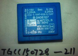 BLOCK B0408107 TRANSFORMER, 2.25VA, 230V to 2*(0-15V)