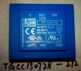 BLOCK PT 13/1/12 PCB Transformer 13VA, 230V to 12V