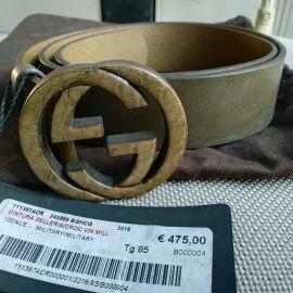 GUCCI 245889 BGHCG Genuine Leater Belt Tg 85cm 90cm 95cm New with tag