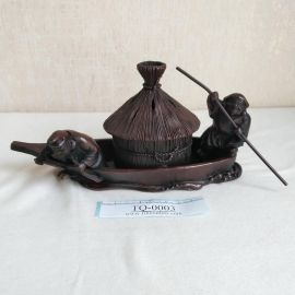 Takaoka copperware Small Boat Copper Incense Burner by Omori Takashi