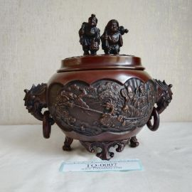 Takaoka copperware Oval 7-Lucky-Gods 3-stands Copper Incense Burner by Yoshihide