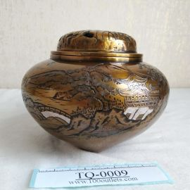 Takaoka copperware Pavilion landscape 3-stands Copper Incense Burner by Asahimine