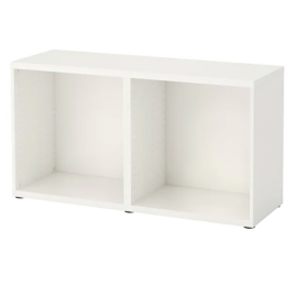 IKEA BESTA white Storage Frame 102.458.46 with 2pcs IKEA LAPPVIKEN white front Door 502.916.76