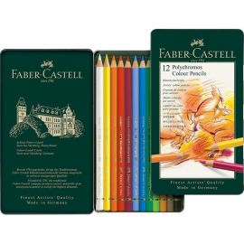 Faber Castell Polychromos Color Pencil Set 12 Pencils in Metal Tin 110012